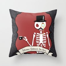 Monsieur Skeleton Throw Pillow