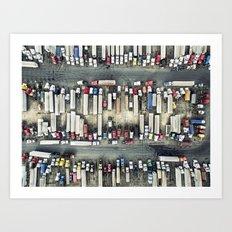 Aerial view of trucks Art Print