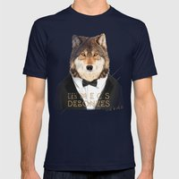 Loup Gris Mens Fitted Tee Navy SMALL