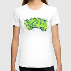 Vecta Wall Smash Womens Fitted Tee White SMALL