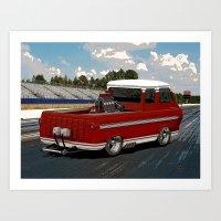 1963 #Ford #Econoline #HotRod Van/Truck (sketch) style Art Print