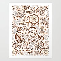 Folk Floral Brown Art Print