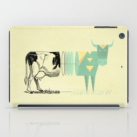 the black and white cow who wanted to be colorfully geometric  iPad Case