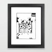 Pug teaparty Framed Art Print