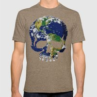 Skull Earth Mens Fitted Tee Tri-Coffee SMALL