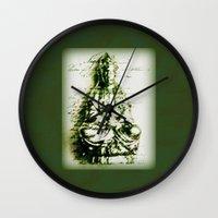 Antique Green Kwan Yin Wall Clock