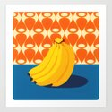 Fruit with Wallpaper (banana) Art Print