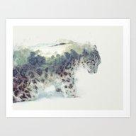 Art Print featuring Snow Leopard II by One Man Workshop