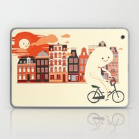 Happy Ghost Biking Through Amsterdam Laptop & iPad Skin