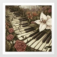 Piano And Flowers Art Print