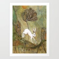 Hare With Standing Stone… Art Print