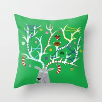 The Reindeer And The Rob… Throw Pillow