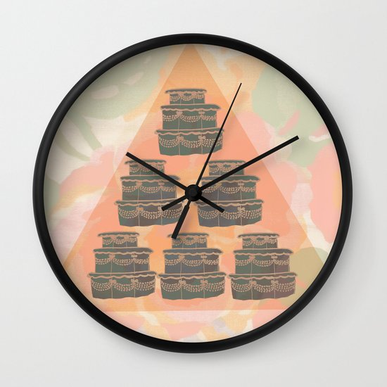 Cake and Flowers Wall Clock