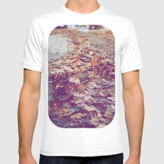 Autumn Path White Mens Fitted Tee SMALL