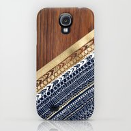 Navy & Gold Tribal On Wo… Galaxy S4 Slim Case