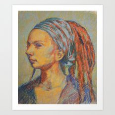 Woman in Pastel Art Print