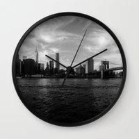 New York Skyline - Black & White Wall Clock