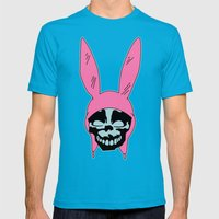 Grey Rabbit/Pink Ears Mens Fitted Tee Teal SMALL