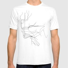 New York Subway White Mens Fitted Tee SMALL