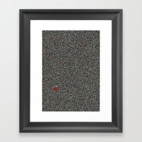 Blue W/Red Accent Dot Co… Framed Art Print
