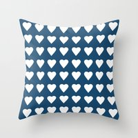 64 Hearts Navy Throw Pillow