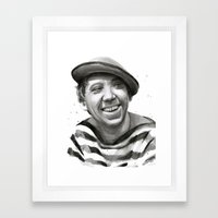 Yuriy Nikulin Portrait Watercolor   Юрий Никулин портрет Framed Art Print