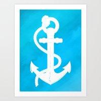 White Anchor Art Print