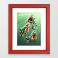 Great White Sharks #1 Framed Art Print