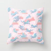 Magic Ponies Throw Pillow