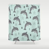 Mint dolphin geometric sea life illustration design  Shower Curtain