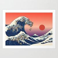 wave Art Prints featuring The Great Wave of Pug   by Huebucket