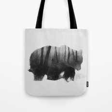 Watched By Grizzly b&w Tote Bag