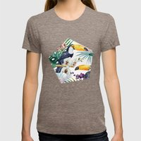 Tropical Watercolor 2 Womens Fitted Tee Tri-Coffee SMALL