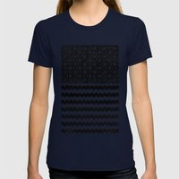 Black Zig Zag Flag Womens Fitted Tee Navy SMALL