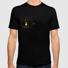 Be a Pineapple - Stay Golden Black Mens Fitted Tee SMALL