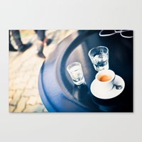 Espresso and Water Canvas Print
