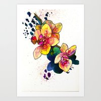 Inky Orchid Art Print