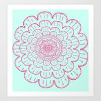 blue&pink Art Print