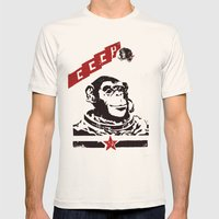 Soviet Space Monkey Mens Fitted Tee Natural SMALL