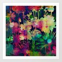 bright floral and bokeh Art Print