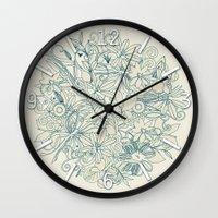 Denim flower circle Wall Clock