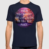 And In That Moment, Our Lives Began To Fall Into Place Mens Fitted Tee Navy SMALL