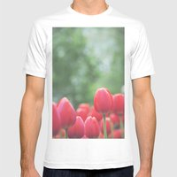 Red Tulips Mens Fitted Tee White SMALL