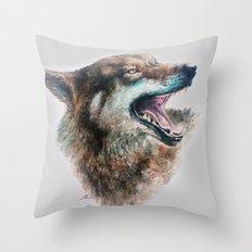 Wolf smile Throw Pillow