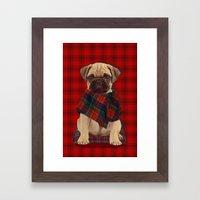The Plaid Poncho'ed Pug Framed Art Print