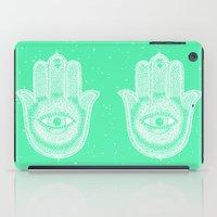 Hamsa lucky green iPad Case