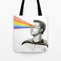 Geordi Rainbow Watercolor Portrait Tote Bag