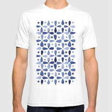 Imperfect Geometry Blue Petal Grid  Mens Fitted Tee SMALL White
