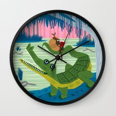 The Alligator and The Armadillo Wall Clock