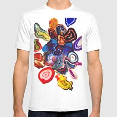 Semi-Precious Agate Burst, Earth's Core Flowers Mens Fitted Tee White SMALL
